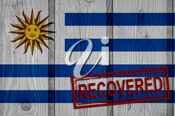 flag of Uruguay that survived or recovered from the infections of corona virus epidemic or coronavirus. Grunge flag with stamp Recovered