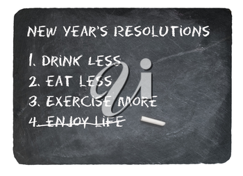 New Years Resolution joke message written in chalk on a chalky natural slate blackboard isolated against white background