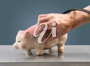 Senior male doctor or vet checking the condition of a large pink piggy bank to illustrate savings or retirement