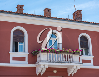 Balcony on the town hall in the coastal town of Novigrad in Croatia