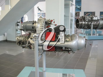 Gatchina, Russia - June 16, 2016: Museum of the history of aircraft engine building. Aircraft engines on stands. Turbine engines and internal combustion engines. Models of aircraft construction.