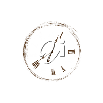 Lost time concept. Doodle watch dial with damaged numbers