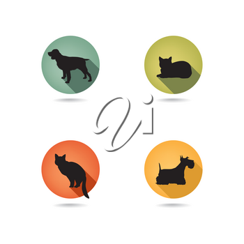 Dog and cat set. Collection of vector pets icon silhouette.