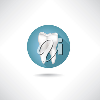 Dental icon. Vector Tooth icon web button isolated on white background