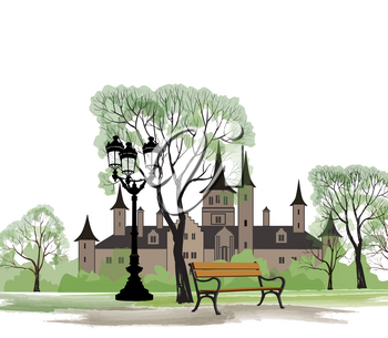 Cityscape of old european city. Castle with garden in spring. Bench in park and street lamp, spring landscape.