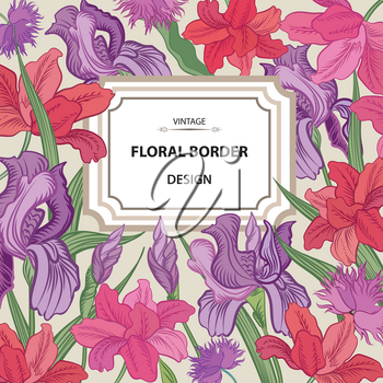 Floral border. Flower background. Vintage flourish spring card or cover.