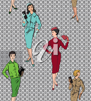 Stylish fashion dressed girls (1950's 1960's style): Retro fashion party. vintage fashion silhouettes from 60s.