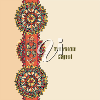 Abstract floral pattern. Geometric ornamental border. Oriental ethnic mandala background. Islam, Arabic, Indian, ottoman motifs. Perfect for printing on fabric or paper.