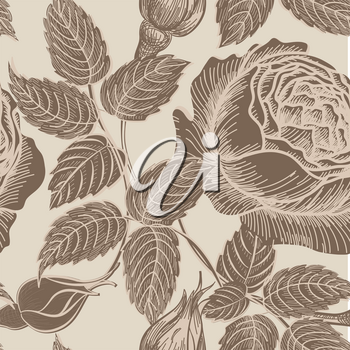 Floral seamless pattern. Flower background in retro style. Floral hand drawn sketch seamless texture with flowers roses.