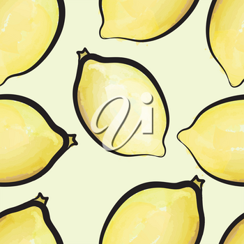 Lemon watercolor seamless pattern. Juicy fruits tiling. Exotic tropical plant background