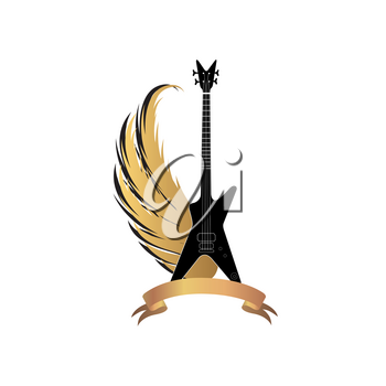 Rock music sign. Electric guitar with wings and ribbon. Musical festival label