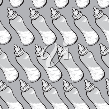 Baby bottle with milk seamless pattern. Baby care drawn background
