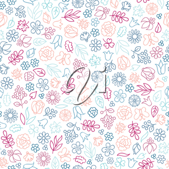 Flower icon seamless pattern. Floral leaves, flowers. Summer ornamental background