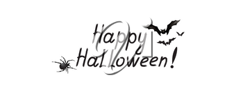 Halloween greeting card. Holiday background with lettering, flying bat
