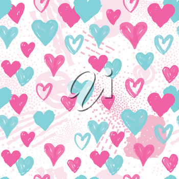 Love heart seamless pattern. Abstract Valentine day hand drawn background. Holiday ornamental wallpaper.