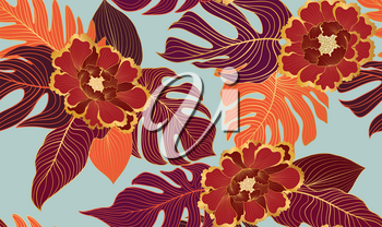 Floral seamless pattern with tropical leaves and flowers. Nature lush background. Flourish ornamental garden texture with line art palm leaves. Artistic drawn background