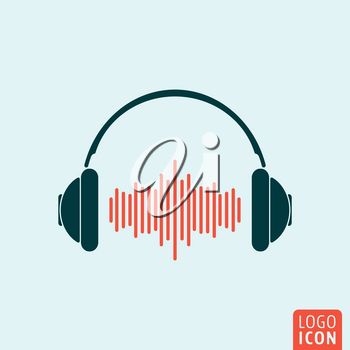Headphone icon. Headphones logo. Headphone symbol. Headphones with sound wave icon isolated, minimal design. Vector illustration