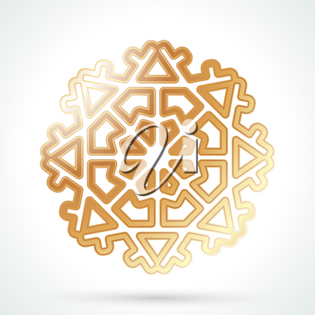 Gold snowflake icon. Abstract winter symbol. Decorative element for brochure, flyer, greeting card. Vector illustration.