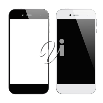 Smartphones black and white. Smartphone isolated. Vector illustration