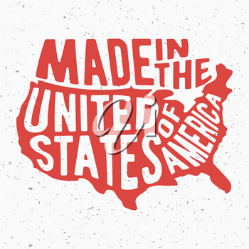 T-shirt print design. Made in the United States of America vintage stamp. Printing and badge, applique, label for t-shirts, jeans, casual wear. Vector illustration.