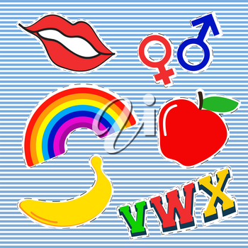 T-shirt print design. Patch fashion, vintage stamp. Printing and badge applique label t-shirts, jeans, casual wear. Red lips rainbow apple banana and gender symbol. Vector illustration.