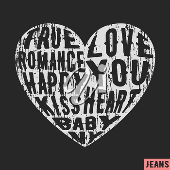 T-shirt print design. Heart vintage stamp. Printing and badge applique label t-shirts, jeans, casual wear. Vector illustration.