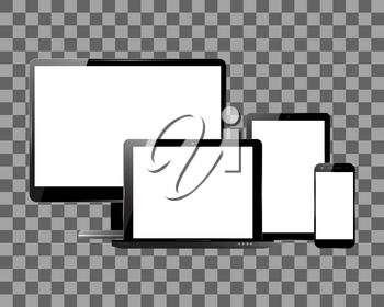PC monitor, smartphone, laptop and computer tablet on transparent background. Set of electronic devices with blank screens. Vector illustration.