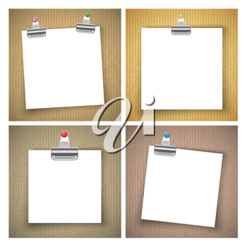 Paper sheet with colored push pin and binder clip on cardboard texture background. Vector illustration.