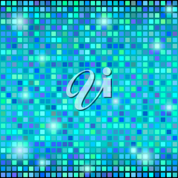 Colorful abstract disco background with squares. Vector illustration.