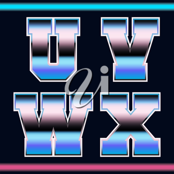 Letter font template 80s retro style. Set of letters U, V, W, X logo or icon old video game design. Vector illustration.