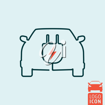 Electric car icon. Electrical cable plug charging station symbol. Vector illustration.