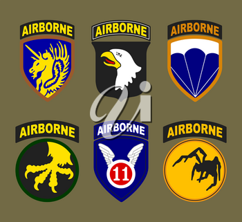 T-shirt print design. Airborne and air force patches typography or vintage stamp. Vector illustration.