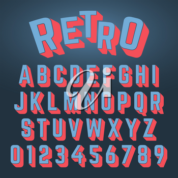Alphabet font template. Set of letters and numbers retro design. Vector illustration.