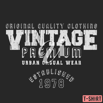 Vintage premium t-shirt stamp. Textured design for printing products, badge, applique, label clothing, t-shirts stamps, jeans and casual wear tags. Vector illustration.