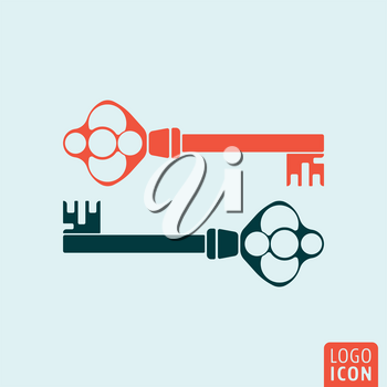 Old key icon. Two antique keys isolated. Vector illustration.
