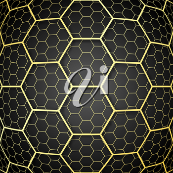Abstract background with golden cells design for flyer, poster, brochure cover, typography or other printing products. Vector illustration.