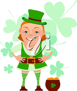 Cartoon girl leprechaun with pot and leaf clover isolated on a white background. Vector illustration of a girl leprechaun smiles and welcomes. Character girl leprechaun for St. Patrick's Day
