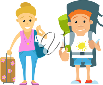 vector set of people traveling. Vector illustration of couples travelling. Tourist couple on a white background
