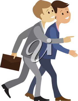 Vector flat design illustration of two business people in suits go and talk. Businessman in a hurry to the office. The situation of office life.