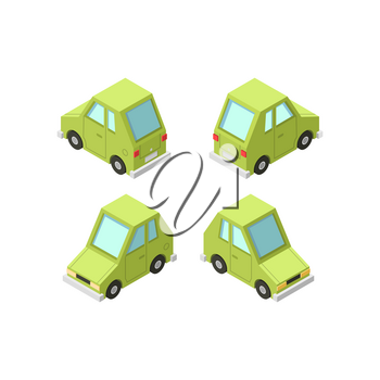 Vector isometric icon set or infographic element set representing private cars, cartoon hatchback car with front and rear views.