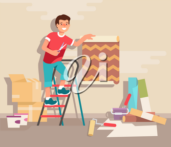 Young man standing on a stepladder glues wallpaper roll in his room at home. Concept design repair and construction of new housing. Vector illustration in flat style.