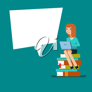 Young teen woman or student sitting on a stack of books with laptop next to the poster . Vector illustration flat design isolated on blue background for educational posters.