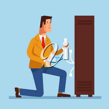 Vector flat illustration of network engineer administrator working with hardware equipment of data center. Admin and server rack networking service on blue background