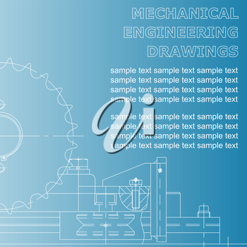 Mechanical engineering drawings on a blue background. Vector