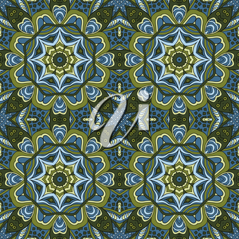 Seamless ornament. Colorful background. Ethnic motives. Zentagl. Green and blue tones