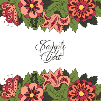 Cover for the book album. Background for inscriptions. Doodle flowers. Banner, Promotional flyer. Background for creativity