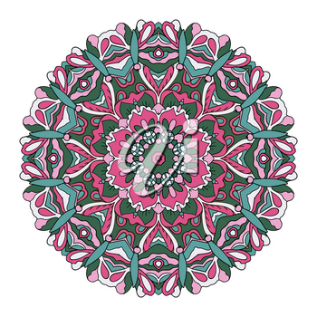 Mandala. Oriental ornament relaxing. Doodle Round figure. Pink and blue