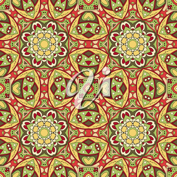 Seamless Mandala. Seamless oriental pattern. Doodle drawing. Hand drawing. Yoga, floral motifs. Yellow and red colors