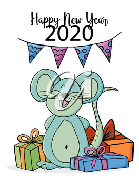 Cute mouse or rat, symbol of 2020. New Year greeting card, flyer, banner. Vector style. Happy new year