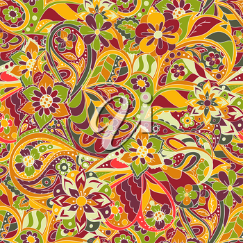 Stylish national ornaments. Flower and wavy elements. Seamless art pattern. Red, green and white colors